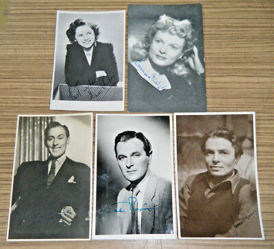 Vintage c1940/50s Postcard Size Movie Star Photos - Signed Lot (a)