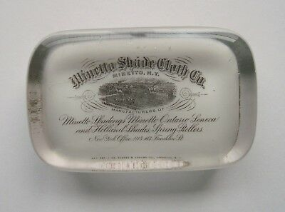 Minetto Shade Cloth Co. N.Y. Glass Advertising Paperweight Barnes & Abrams