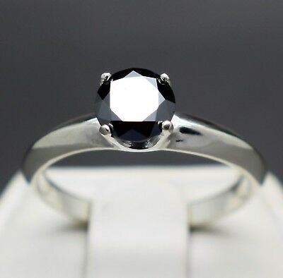 .81cts 5.91mm Natural Black Diamond Ring, Certified, AAA Grade & $605 Value