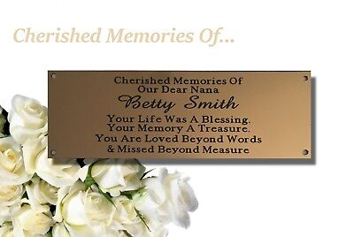 Brass Effect Memorial Bench Plaque
