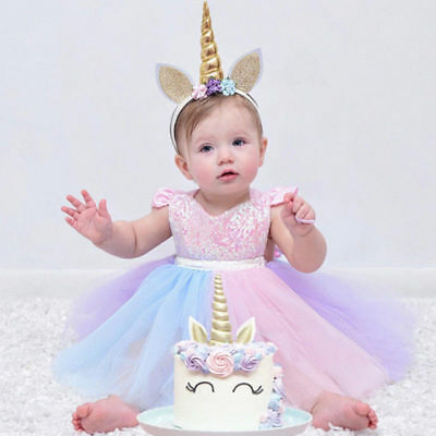 77ce870d6 Baby Girl 1st Birthday Unicorn Romper Tutu Dress Rainbow Party Cake Smash  Outfit