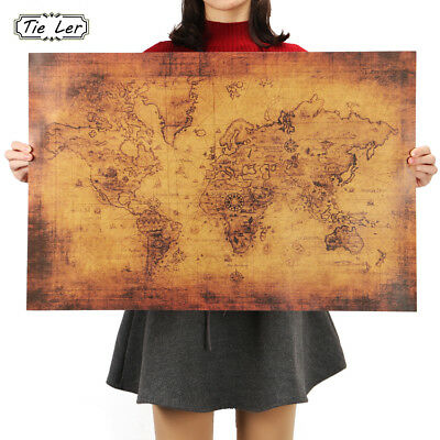 Large Vintage Style Kraft Paper Poster Gifts Home Decoration The Old World Map