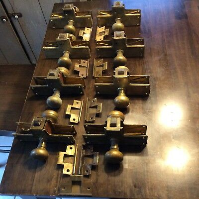 8 Antique Solid Brass Door Lock Sets with Strike Plates Ca. 1902 Building Decor