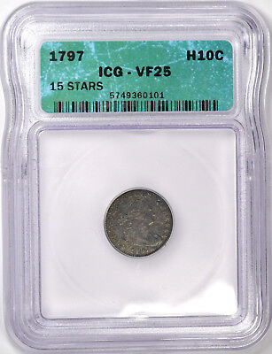 1797 Draped Bust Half Dime - Icg Very Fine Vf25 -  Problem Free & Original!