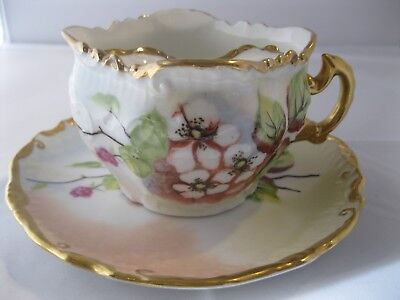 Mustache Tea Cup and Saucer Brandenburg Germany Anchor Flowers Gold Antique Rare