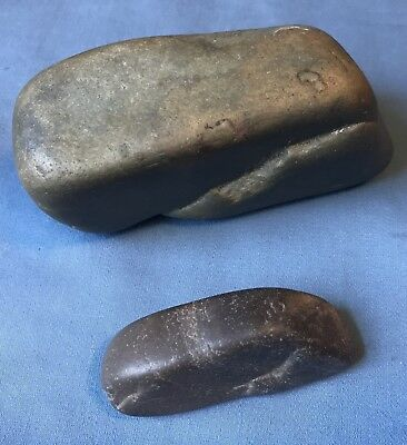 Pair of POLISHING/RUBBING Stone Tools ~ Ancient Artifacts ~ IOWA