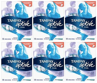 Lot of 6 Tampax Active Pearl Tampons, 18 count each, Light, Unscented