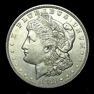 1921 D ~**ABOUT UNCIRCULATED AU**~ Silver Morgan Dollar Rare US Old Coin! #V53