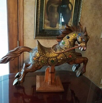 Handcrafted WOOD Carved HORSE W/ SADDLE & Metal JEWELED Body Armor Mounted BASE