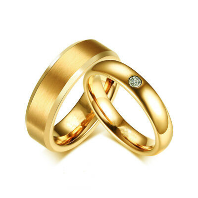 316L Stainless Steel CZ Gold Band Men Women's Couple Rings Wedding Party Fashion