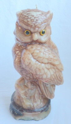 "Great Horned Owl Candle Large 12"" Wax Statue Figurine Realistic Lifelike"