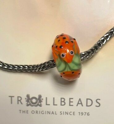 Authentic Trollbeads JUMBO GECKO LIZARD orange w/dots rare HTF NEW!