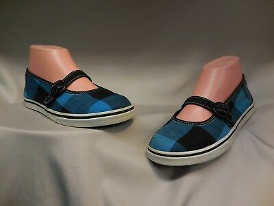 9c7053860db0bd VANS Girls Missy Mary Janes Blue Black Plaid Missy Size 3.5 or Womens Size 6