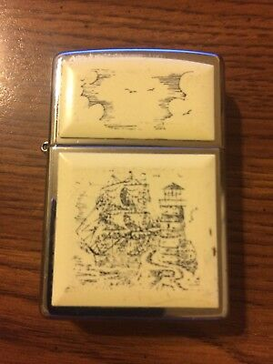 Vintage 1998 Zippo Lighter Ship/lighthouse Scene Used Silver/cream Tone