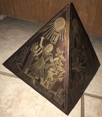"8"" Vintage Egyptian Mixed Metal Pyramid Etched Brass/Copper/Bronze Ancient Egypt"