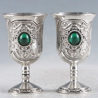 A Pair Of Chinese  Exquisite Silver Handmade  Cup LZJ249