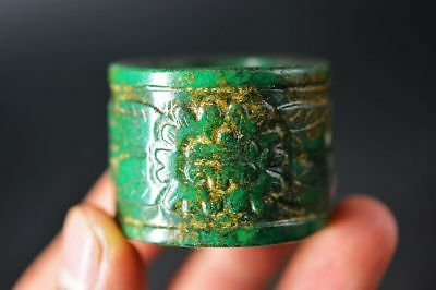Rare Chinese old jade Hand-carved *flower* Fingerstall/Thumb Ring   E15