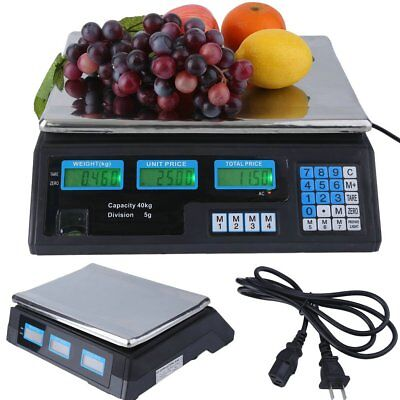88LB Digital Weight Scale Price Computing Deli Food Produce Electronic Counter