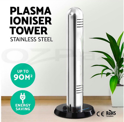 Portable 90sqm Plasma Air Purifier Ionizer Tower Freshener Cleaner Ionic Smoke