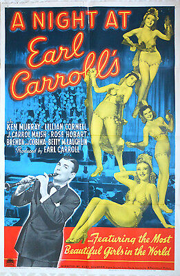 """One Sheet Poster - """"A Night at Earl Carroll's""""  Pinuup Girls  (1940)"""