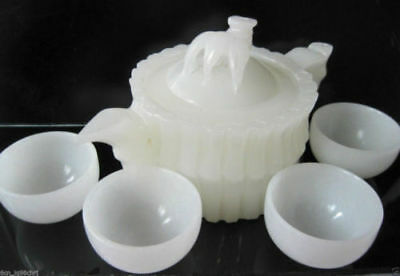 Chinese 100% Natural White Jade Hand-Carved Bamboo Teapot&4 Cups