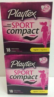 Lot (2) Playtex Sport Compact Unscented Tampons Regular 360 Protection