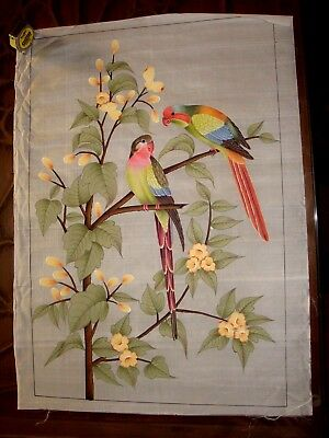 Indian Painting On Silk Vintage 80 Cms X 56 Cms