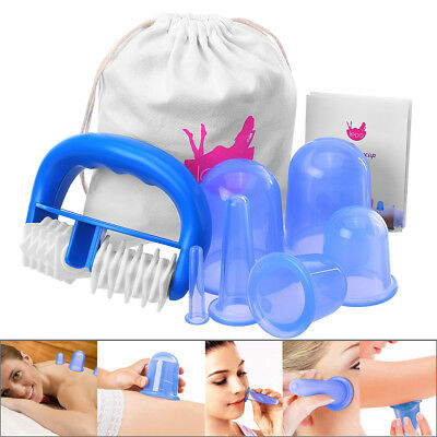 6pcs Silicone Anti Cellulite Massage Vacuum Cupping Body Facial Cups Therapy USA