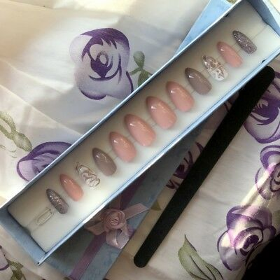A set of Hand Painted False Nails. Stiletto. Nude Pink Marble. Gift box, glue UK