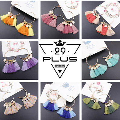 Vintage Women Fashion Boho Ethnic Tassel Dangle Hook Drop Earring Jewelry GiftAU