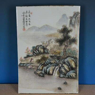 Antique Chinese Porcelain Plaque Famille Rose Marked Master Wang Yeting N1912