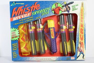 VINTAGE 90's WHISTLE MISSILE NERF SKYBOLTS HYPERFORM Launcher Rare Dart Foam Toy