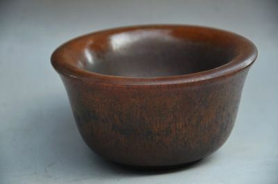 Collectible Chinese Ox Horn Hand Carved Bowl