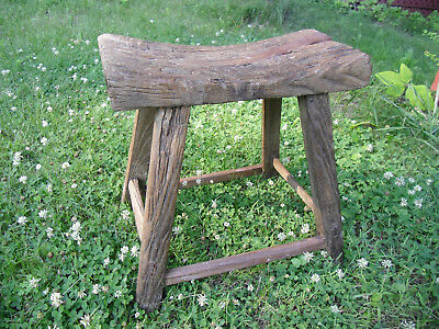 Authentic Antique Asian Handmade Stool - Jaw Dropping True Age Patina