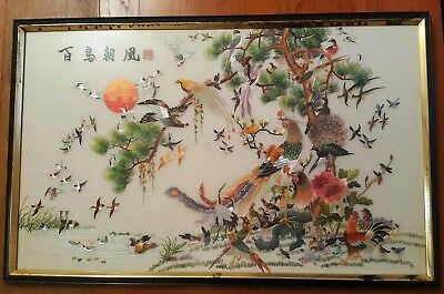 "Large Chinese vintage silk embroidery ""100 Birds Adoring the Phoenix"" Mid C20th"