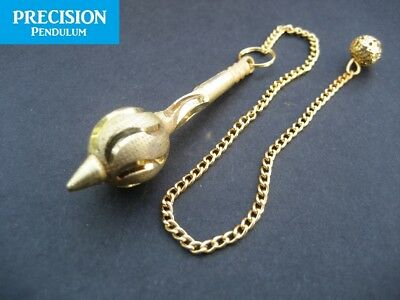 Solid Golden Mace Metal Precision Pendulum with Chain Dowsing Divination Energy