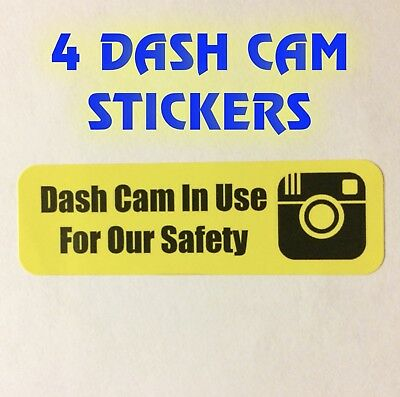DashCam Stickers 4 pack In Car Camera Recording Sticker For Uber Lyft Tips Sign