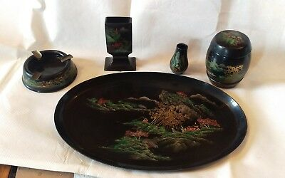Antique  Japanese Black Lacquered Wood 5 Piece Smoking Set .
