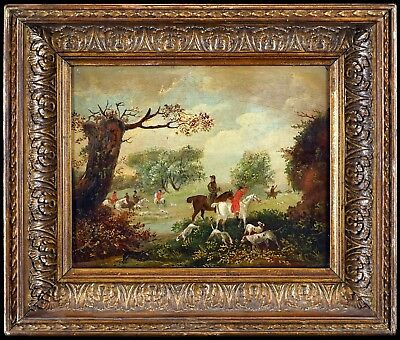 c.1830 English School - Hunting Scene, Small Antique Sporting Oil Painting