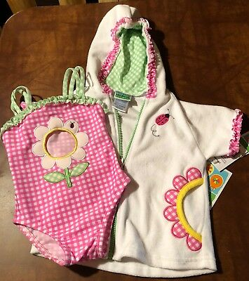 Infant girls swimsuit with cover size 12 mos