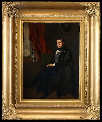 Fine c.1820 English School Portrait of a Seated Gentleman, Antique Oil Painting