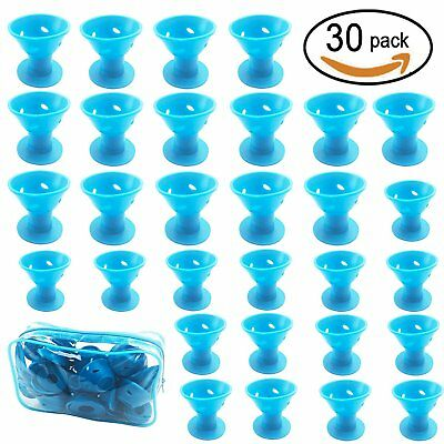 30 PCS Blue Hair Care Rollers Curlers Silicone No Clip Style Soft Magic DIY...