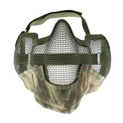 Outdoor Steel Mesh Half Face Mask Tactical Protection Mouth Guard Green