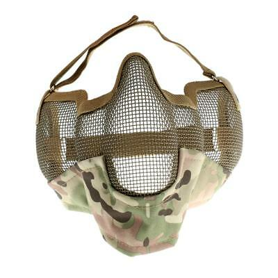 Outdoor Steel Mesh Half Face Mask Tactical Protection Mouth Guard CP