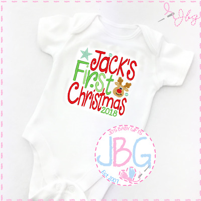 Personalised First Christmas 2018 baby vest/onsie, babies first christmas gift