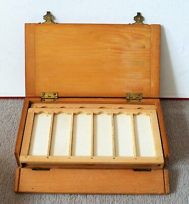 Superb Antique  PINE  MICROSCOPE SLIDE  DISPLAY CABINET for 36 mounts