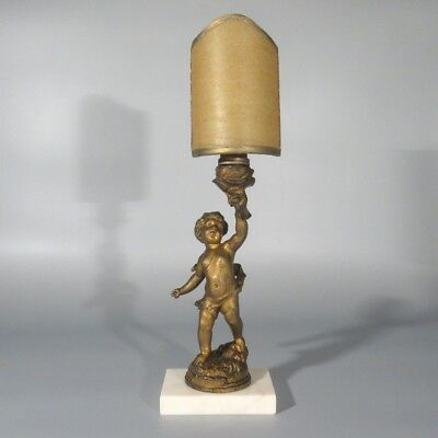Antique French Lamp, Putto, Cherub, Shade, Signed Rousseau