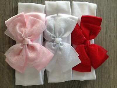 Baby Girls Elasticated Headband Satin and Organza Sparkly Bow