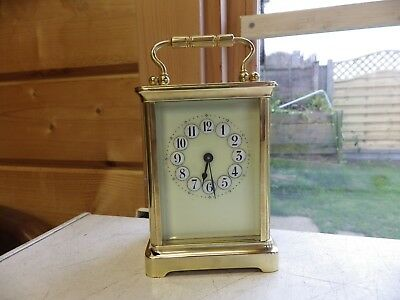 Fully Restored French carriage Clock really nice Cream Dial Raised Numerals 1890