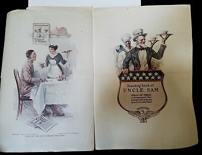 """Two 1918 CREAM of WHEAT UNCLE SAM & SERVEMAN Lg Full Page Ads 15""""x10-1/4"""""""